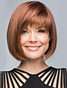 Human Hair Capless Wigs Human Hair kinky Straight Bob Haircut With Bangs With Bangs Side Part Medium Machine Made Wig Women's