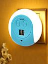 BRELONG® 1 buc Wall Plug Nightlight Smart Senzor USB Dublu US Incarcator de telefon căpătâi Controlul luminii