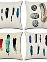 4.0 pcs Coton / Lin Housse de coussin, Imprime / Style Boheme / Retro
