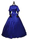 Rococo Victoriano siglo 18 Disfraz Mujer Vestidos Azul cielo Cosecha Cosplay Fiesta Fiesta de baile Manga Larga Hasta el Tobillo Salon