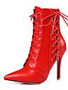 Pentru femei Pantofi Imitație de Piele Primăvară Toamnă Pantofi pe Gleznă Cizme la Modă Cizme Toc Stilat Vârf ascuțit Cizme/Cizme la