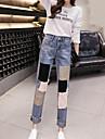 Dames Eenvoudig Medium taille Micro-elastisch Jeans Broek Polyester, Kleurenblok Lente
