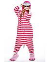 Pijama Kigurumi Chesire Cat Pisici Pijama Întreagă Costume Lână polară Fibră sintetică Roz Cosplay Pentru Sleepwear Pentru Animale Desen
