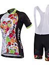 Malciklo Dam Kortärmad Cykeltröja med Haklapp-shorts - Svart Svart/vit Brittisk Geometrisk Cykel Bib Tights Tröja, Anatomisk design,
