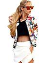 女性用 日常 週末 春/秋 レギュラー ジャケット, ストリートファッション ラウンドネック フラワープリント ニット