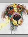 Hang målad oljemålning HANDMÅLAD - Abstrakt Djur Moderna Duk