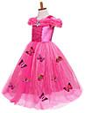 Prinsesse Cinderella Eventyr Kjoler Party-kostyme Barne Ballkjole Sko Mesh Bursdag Jul Halloween Maskerade Festival / hoeytid Silke / Bomulds Blanding Gul / Blaa / Rosa Karneval Kostumer Fargeblokk