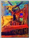 Peinture a l\'huile Hang-peint Peint a la main - Abstrait Contemporain Toile