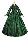 Vintage Rokoko Kostym Dam Vuxna Outfits Grön och Svart Vintage Cosplay Satin Långärmad Puff