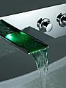 Nutida Kärl Vattenfall Färgskiftande Keramisk Ventil Två handtag Ett hål Krom, Badrum Tvättställ Kran