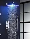 Nutida Väggmonterad Regndusch Handdusch inkluderad Utbredd Termostatisk LED with  Mässing Ventil Tre Handtag nio hål for  Krom , Duschkran