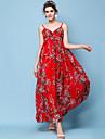 Damen Strand Festtage Boho Schlank Chiffon Swing Kleid - Gefaltet Druck, Blumen Maxi Gurt Rot