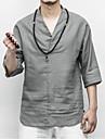 Ανδρικά T-shirt Κινεζικό στυλ - Λινό Μονόχρωμο Λαιμόκοψη V / Καλοκαίρι