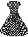 Pentru femei Mărime Plus Size De Bază Mâneci Bufante Teacă Rochie - Imprimeu, Buline Lungime Genunchi / Primăvară