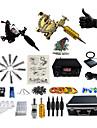 Tattoo Machine Professionell Tattoo Kit 2 x roterande tatueringsmaskin för linjer och skuggning Justerbar Volym LED strömförsörjning 2 x