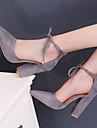 Pentru femei Pantofi Piele de Căprioară Primăvară Confortabili Tocuri Toc Îndesat Vârf deschis Piatră Semiprețioasă / Cataramă Verde /