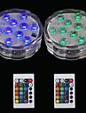 BRELONG® 2pcs 2W Lumini Subacvatice Controlat de la distanță Rezistent la apă Decorativ Piscina RGB 5.5V