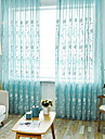Sheer Curtains Shades Living Room Floral Cotton / Polyester Printed