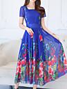 Pentru femei Mărime Plus Size Concediu Boho / Sofisticat Zvelt Teacă / Swing Rochie - Imprimeu, Floral Pătrat Midi Albastru / Primăvară / Vară