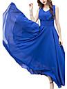 Femme Grandes Tailles Soiree / Vacances Punk & Gothique Midi Balancoire Robe Couleur Pleine Col en V Bleu Violet Jaune Vert Claire XXXL 4XL XXXXXL Sans Manches
