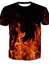男性用 プリント Tシャツ ベーシック ラウンドネック カラーブロック / 半袖