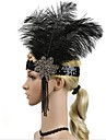 The Great Gatsby Vintage 1920s Roaring Twenties Costume Women\'s Flapper Headband Head Jewelry Black Vintage Cosplay Party Prom Sleeveless / Feather
