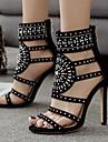 Pentru femei Pantofi PU Vară Confortabili Sandale Toc Stilat Negru / Verde