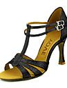 Dam Latinamerikansk Sällskap Glitter Konstläder Sandaler Spänne Individuellt anpassad klack Svart Röd Silver Blå Guld Går att