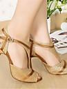Pentru femei Pantofi Dans Latin Paillertte Călcâi Toc Stilat Pantofi de dans Auriu / Performanță / Piele / Antrenament