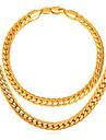 Bărbați Link / Lanț / Lanț de lanțuri Set bijuterii - Placat Auriu, Placat Cu Aur Roz Cercul Twist Modă Include Brățări cu Lanț & Legături / Lănțișoare Auriu Pentru Zilnic