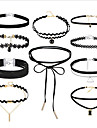 Pentru femei stivuibil Coliere Choker tatuaj cravată Piele Dantelă femei Vintage Gotic Multistratificat Negru 36 cm Coliere Bijuterii 10pcs Pentru Cadou Stradă Costume Cosplay