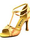 בגדי ריקוד נשים נעליים לטיניות / נעלי סלסה סטן סנדלים / עקבים אבזם / עניבת פרפר עקב מותאם מותאם אישית נעלי ריקוד ברונזה / שקד / עירום / עור / מקצועי