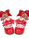 Zapatos Gosurori Amaloli Lolita Clasica y Tradicional Princesa Tacon Cuadrado Zapatos Encaje de costura Lazo 6.5 cm CM Rojo Para Mujer PU Disfraces de Halloween
