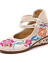 Γυναικεία Παπούτσια Πανί Ανοιξη καλοκαίρι / Φθινόπωρο & Χειμώνας Ανατομικό Χωρίς Τακούνι Τακούνι Σφήνα Στρογγυλή Μύτη Αγκράφα Λευκό / Μαύρο / Κόκκινο
