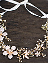 Napodobenina perel / Měděný drát Čelenky / Vlasové ozdoby / Řetěz hlavy s Umělé perly / Květiny 1ks / Jeden díl Svatební / Večírek Přílba