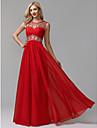 Linia -A Bijuterie Lungime Podea Șifon Peste Satin See Through Bal / Seară Formală Rochie cu Mărgele / Detalii Cristal de TS Couture®
