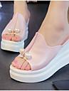Dame Wedge-sandaler PU Sommer Komfort Sandaler Kile Hæl Kigge Tå Perle Hvid / Sort / Lys pink