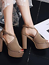 Women\'s Shoes Suede Spring & Summer Basic Pump Sandals Chunky Heel Peep Toe Buckle Black / Beige / Almond / Party & Evening