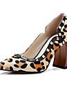 Femme Chaussures Crin de Cheval Ete Confort Chaussures a Talons Talon Bottier Noir / Kaki / Soiree & Evenement