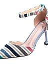Femme Chaussures Tricot / Polyurethane Ete D\'Orsay & Deux Pieces Chaussures a Talons Talon Aiguille Bout pointu Marron / Bleu / Soiree & Evenement / Raye
