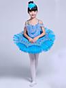 رقص الباليه الفساتين فتيات أداء سباندكس ruching في / مفصل منفصل بدون كم تنورة توتو