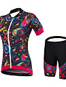 Malciklo Women\'s Short Sleeve Cycling Jersey with Shorts - Black Floral / Botanical Bike Clothing Suit Sports Spandex Bamboo-carbon Fiber Coolmax® Floral / Botanical Mountain Bike MTB Road Bike