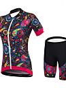 Malciklo Kadın\'s Kısa Kollu Şortlu Bisiklet Forması - Siyah Çiçek / Botanik Bisiklet Giysi Takımları Spor Dalları Splandeks Bambu-karbon Fiber Coolmax® Çiçek / Botanik Dağ Bisikletçiliği Yol / Streç