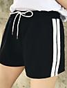 Women\'s Shorts Pants - Striped High Waist Black