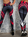 Women\'s Yoga Pants Black / Red Sports Letter Leggings Bottoms Zumba Running Gym Workout Activewear Breathable Quick Dry Compression Butt Lift Stretchy Skinny
