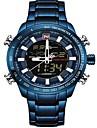 NAVIFORCE Heren Sporthorloge Militair horloge Digitaal horloge Japans Japanse quartz Roestvrij staal Zwart / Blauw / Zilver 30 m Waterbestendig Alarm Kalender Analoog Digitaal Luxe Modieus - Wit
