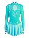 Robe de Patinage Artistique Femme Fille Patinage Robes Bleu Pale Spandex Haute elasticite Competition Tenue de Patinage Fait a la main Strass Manches Longues Patinage sur glace Patinage Artistique