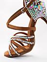 Pentru femei Pantofi Dans Latin Satin Călcâi Sclipici Strălucitor / Cataramă / Detalii Cristal Toc Flared Personalizabili Pantofi de dans Negru / Maro