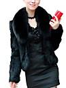 Γυναικεία Καθημερινά Βασικό Φθινόπωρο & Χειμώνας Κοντό Γούνινο παλτό, Μονόχρωμο Turndown Μακρυμάνικο Ψεύτικη Γούνα Λευκό / Μαύρο XL / XXL / XXXL