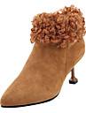 Női Fashion Boots PU Ősz Alkalmi Csizmák Cicasarok Magas szárú csizmák Fekete / Barna / Khakizöld